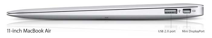 11.6-inch Apple MacBook Air ports